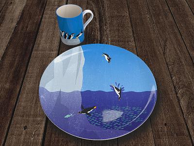 Penguin Plate and Mug ceramics ceramictopia iceberg ocean penguin illustrator illustration mug plate