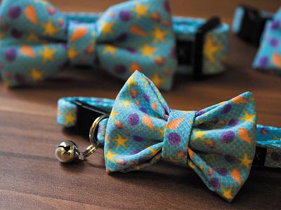 Bowtix Pattern cat dog collar starfish blue shells pattern repeating pattern bowtie bowtix