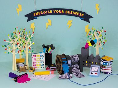 Energise Your Business for Link Exhibition Ltd. illustration paper art paper cut business energise identity exhibition branding paper papercut