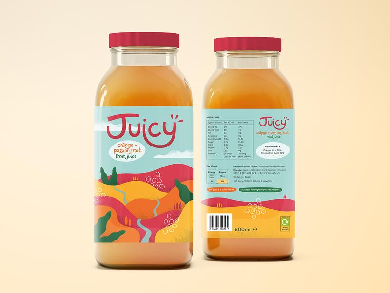 Juicy Label Concept landscape bottle label bottle colourful illustration packaging design juice label packaging