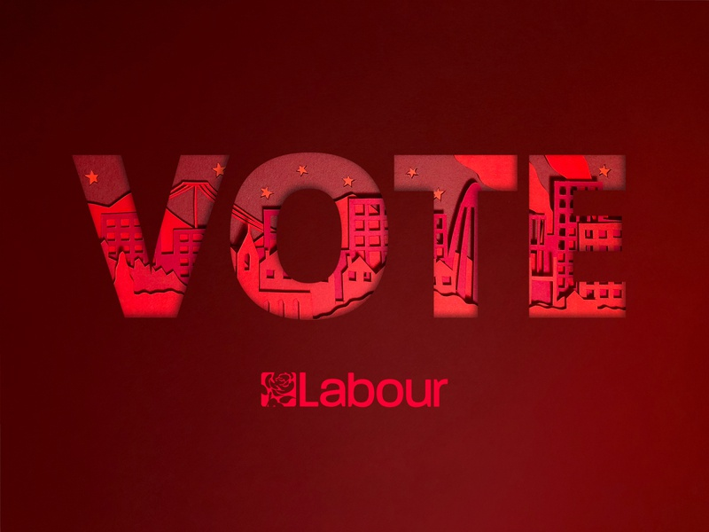 For the Many, Not the Few. paper cut print design print campaign labour politics red paper illustration