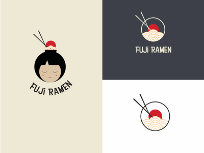 Fuji Ramen branding minimalistic simple modern creative illustration vector kawaii ramen japanese design logo