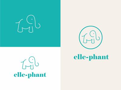 Elle-phant clean design minimal elephant icon branding brand identity graphic design illustration logo design