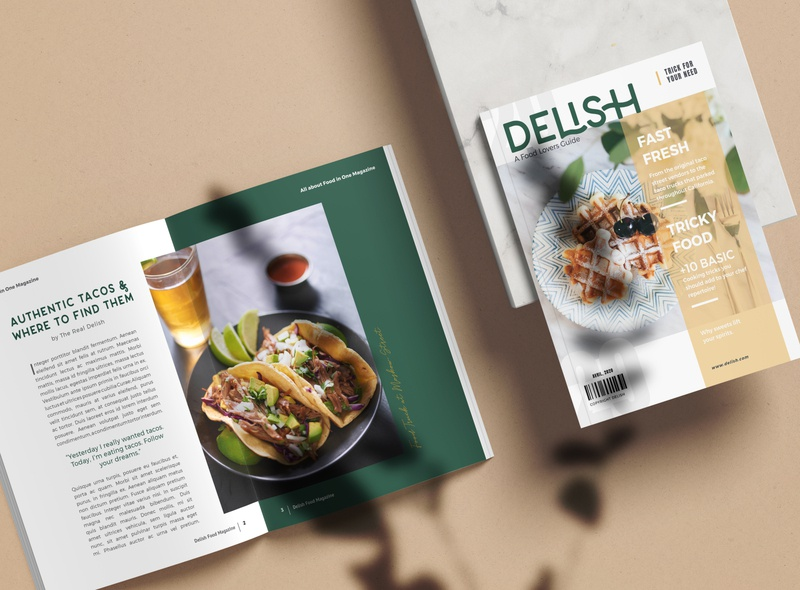 Delish Food Magazine tasty food and drink foodie clean design minimalism typography simple branding icon logo color design