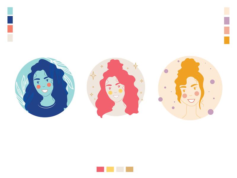 Avatars branding clean design simple icon illustration flat illustrations color vector design