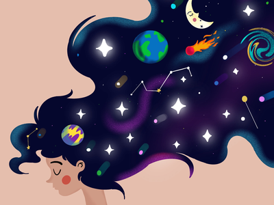 Lost in space moon stars gradient procreate art illustrations vector design colorful milky way space girl vectors space planets illustration