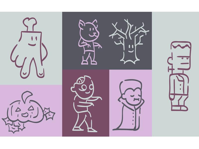 Halloween Icons halloween october fun monster mash autumn inktober vector illustrations