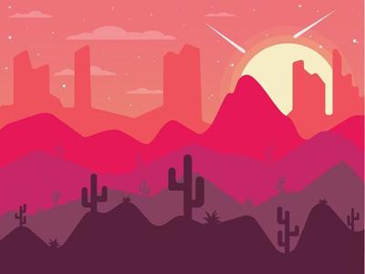 Desert Landscape mountains gradient horizon stars sunset cactus desert landscape design illustrations graphic design