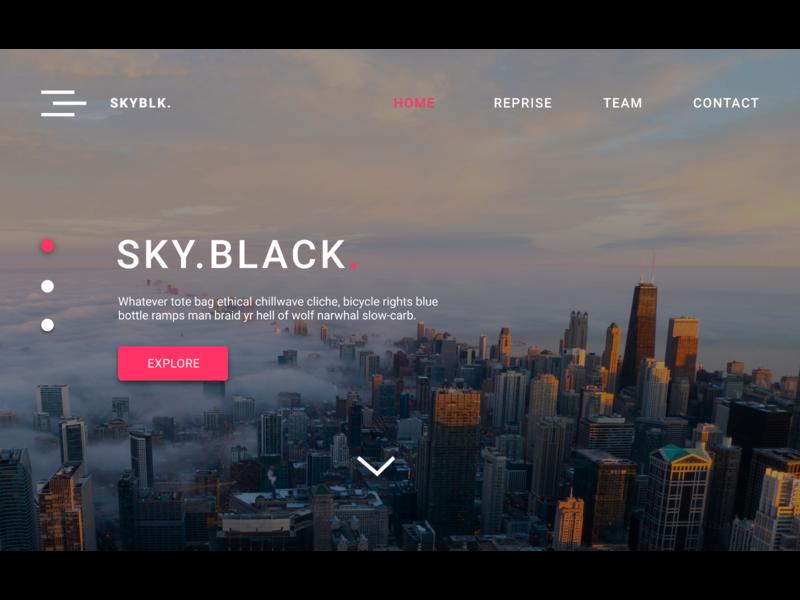 Sky Black simple webdesign ui design studio