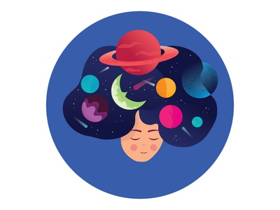 Space stars creative planets girl space cosmos icon illustration abstact flat vector design color illustrations