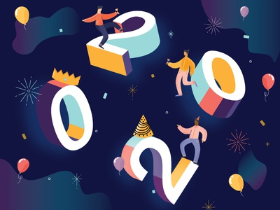 Happy New Year: Roaring 20's celebration 3d type 2020 new years typography flat vector color illustrations design