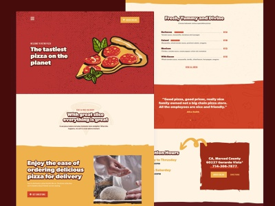 Retro Pizza ui delivery service service website yummy delicious tasty delivery order pizza fastfood 60 retro homepage food