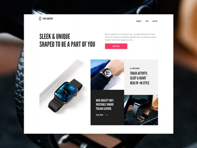 Steel meister product watch landing smartwatch interface experimental homepage website design ui