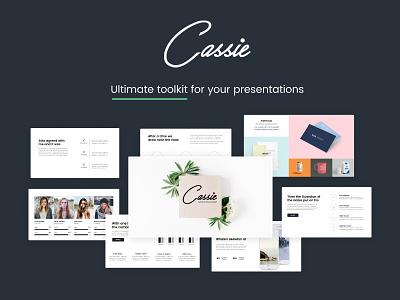 Cassie Minimal Presentation ppt pack multipurpose clean analytics minimal presentation powerpoint