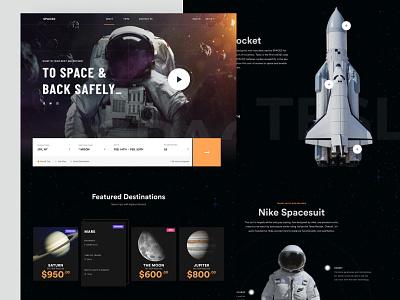 SPACED - Homepage universe ui travel spacedchallenge spaced space sci fi moon homepage design dark