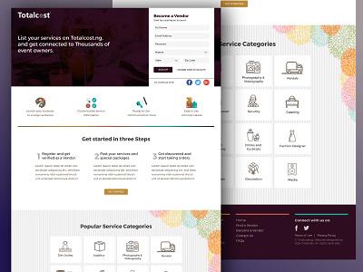 WIP: Merchant Signup page landing page web design homepage website design uiux