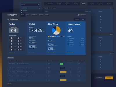 Sport betting app dashboard