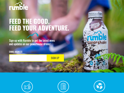 Rumble Drink Landing Page