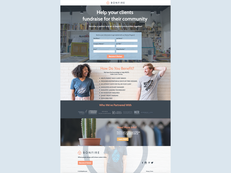 Bonfire Agency Page landing pages landing page fundraising bonfire design agency