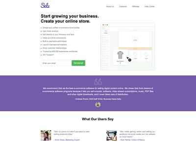 Selz Landing Page landing page web marketing branding design