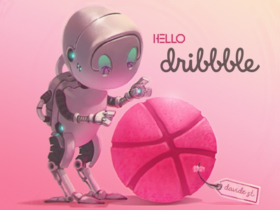 Hello Dribbble digitalpainting scifi mech robot firstshot art hello dribble