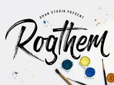 Rogthem textured logo branding vector illustration handwriting handlettered graphic fonts art displayfont calligraphy brush typography handpainted handmade typeface brushfont font lettering