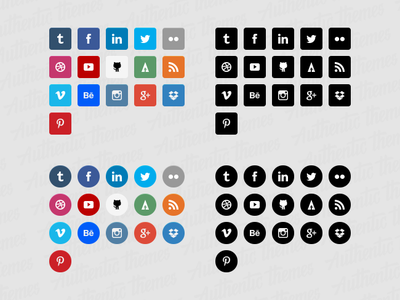 Authentic Themes Flat Social Icons free freebies social icons authentic themes