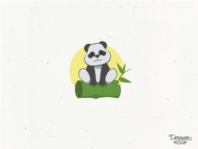 Playful panda on bamboo log