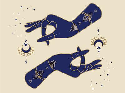 Witchy hands alchemy atx graphic designer mystical designer illustrator design