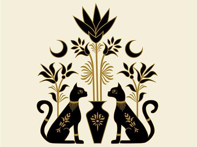 Egyptian Cats atx designer graphicdesign mystical art illustrator design