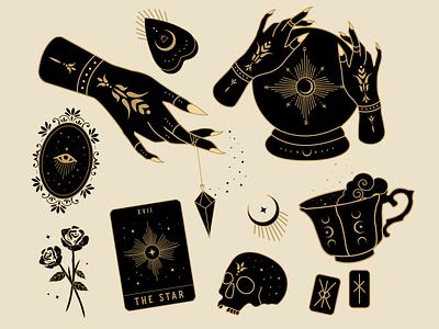 Divination Flash Sheet skull designer badge design mysticism atx illustrator illustration branding design graphic design