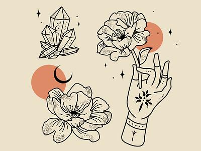 Crystal & Peony logo branding illustration alchemy mysticism designer atx illustrator graphic design design