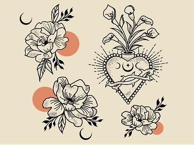 Calla Lily Sacred Heart & Peonies tattoos mysticism illustrator atx tattoo design alchemy designer tattoo art logo graphic design design