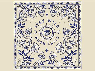 Stay Wild Moon Child vector art mystical designer mysticism alchemy bandana illustrator atx branding graphic design design