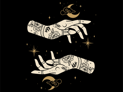 Tattoo Celestial Hands atx graphic design illustration mystical celestial illustrator tattoo design