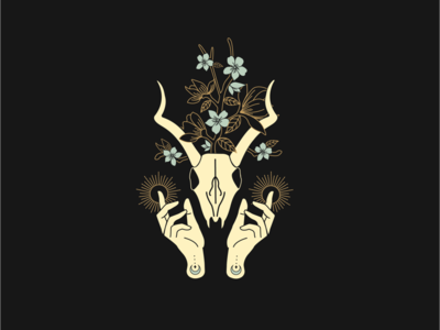 Floral Animal Skull