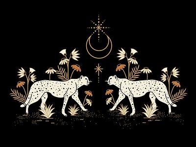 Celestial Cheetahs designer cheetahs atx adobe illustrator graphic design mystical design design