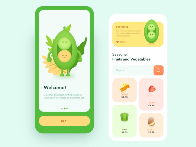 Healthy food shop App card flat illustration icon interface design app ui green fruit vegetables