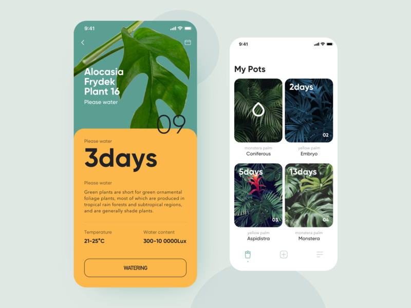 Green plants transaction app format list flat icon interface design ui