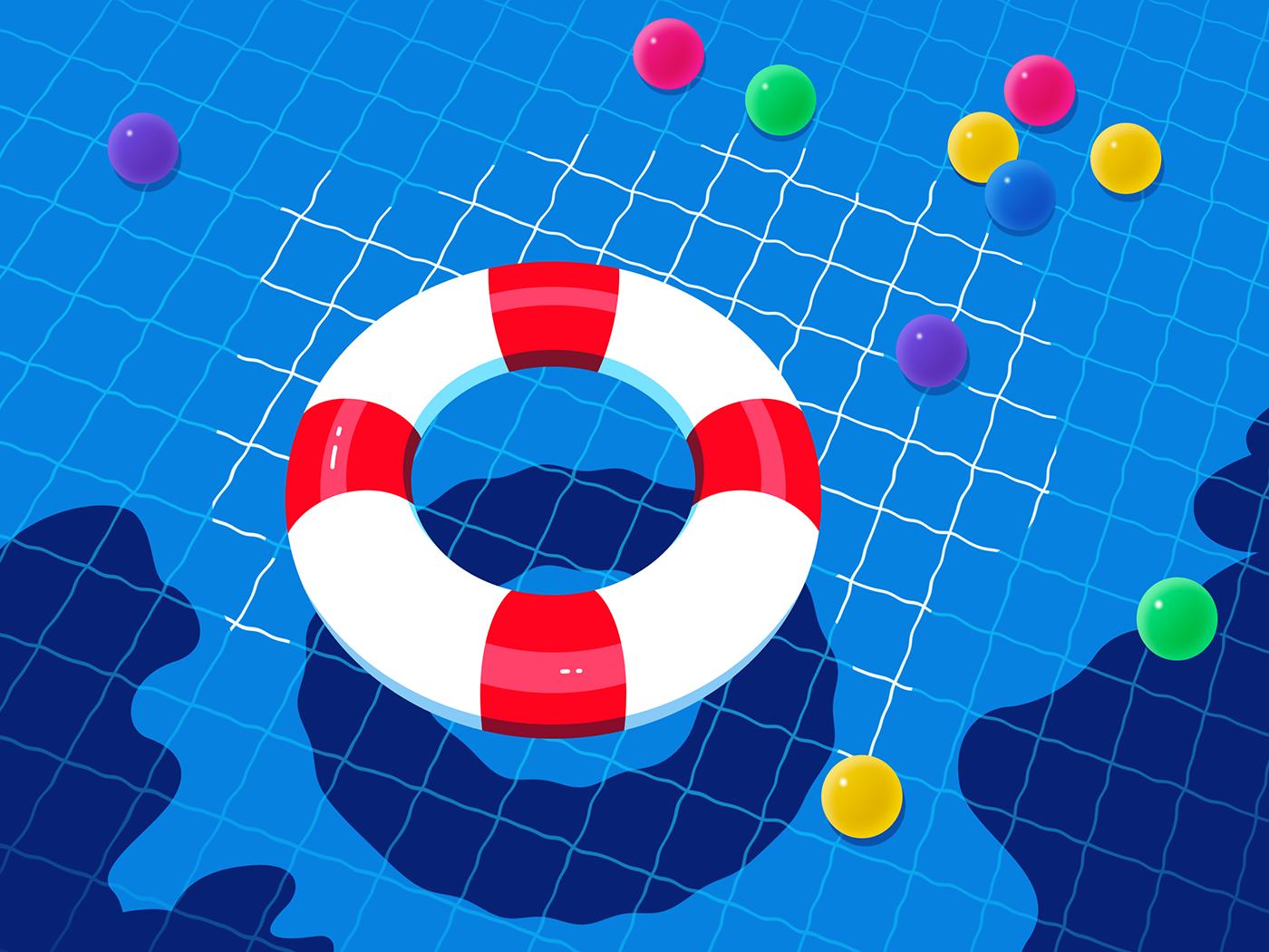 Swimming pool water ball swimming ring illustration