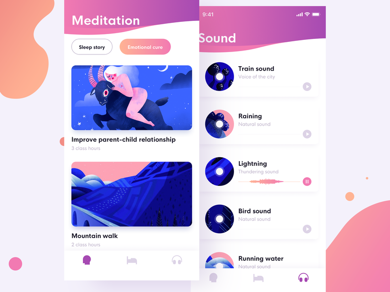 Listening sound illustration design interface ux ui