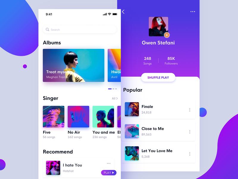 New music music album music app ux ui