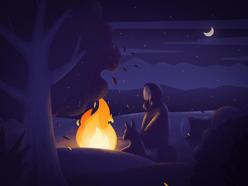 Bonfire night fire dog star moon night illustration bonfire