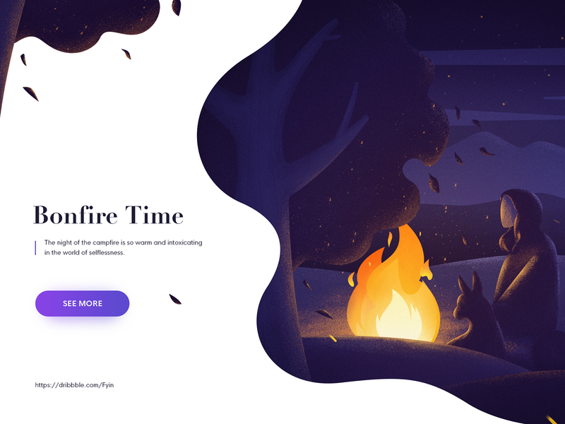 Bonfire Page interface dog bonfire night illustration web