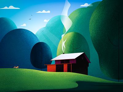 Forest cottage sky cloud dog chalet forest illustration