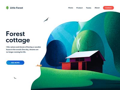 Forest cottage & Page trees house web forest dog illustration chalet