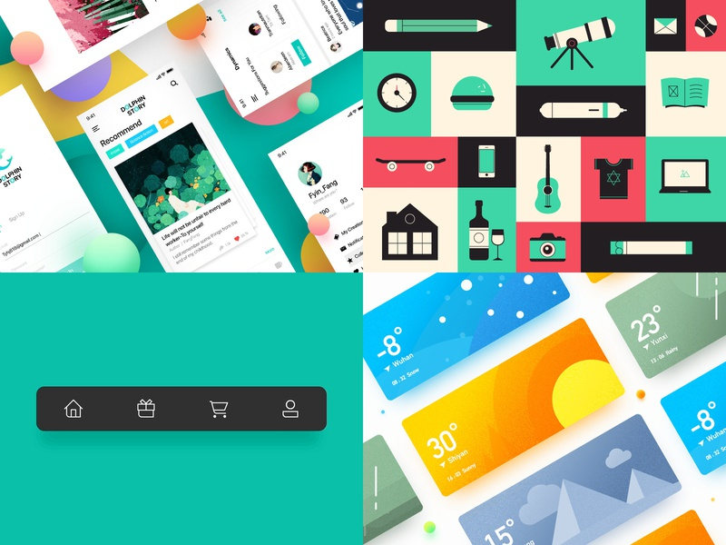 Top 4 of 2018 branding animation icons app icon illustration ux ui design flat