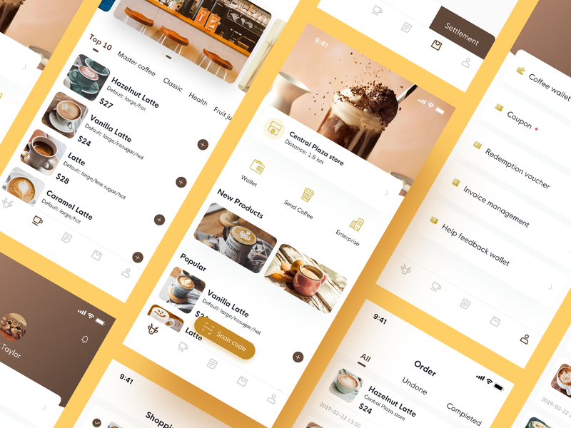 Coffee reservation App takeaway design icon coffee interface ux app ui