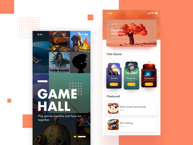 GameHall App photo list card color ux ui app game
