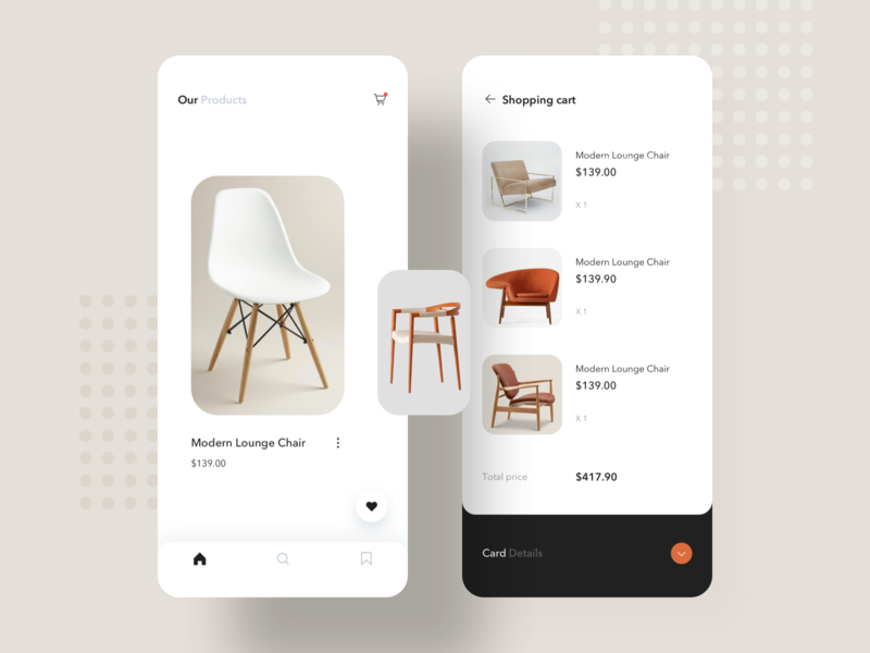 Furniture shopping App commodity price list flat card design app ui shop chair
